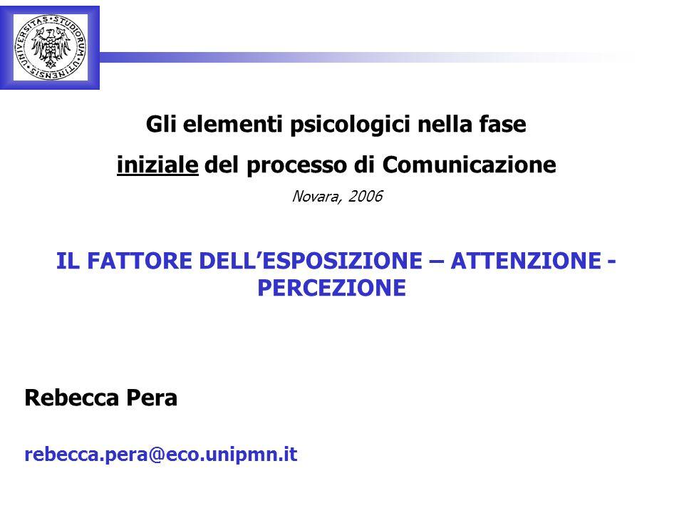 Rebecca Pera 1 Gli elementi psicologici nella fase iniziale del processo di Comunicazione Novara, 2006 IL FATTORE DELLESPOSIZIONE – ATTENZIONE - PERCEZIONE Rebecca Pera rebecca.pera@eco.unipmn.it