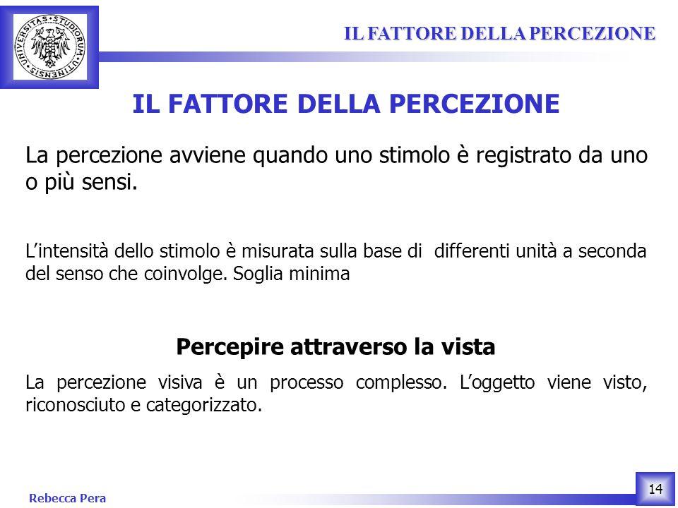 Rebecca Pera 14 IL FATTORE DELLA PERCEZIONE IL FATTORE DELLA PERCEZIONE IL FATTORE DELLA PERCEZIONE La percezione avviene quando uno stimolo è registrato da uno o più sensi.