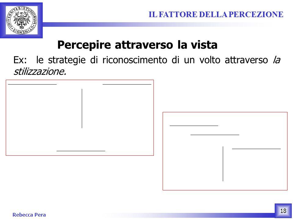 Rebecca Pera 18 IL FATTORE DELLA PERCEZIONE IL FATTORE DELLA PERCEZIONE Percepire attraverso la vista Ex: le strategie di riconoscimento di un volto attraverso la stilizzazione.
