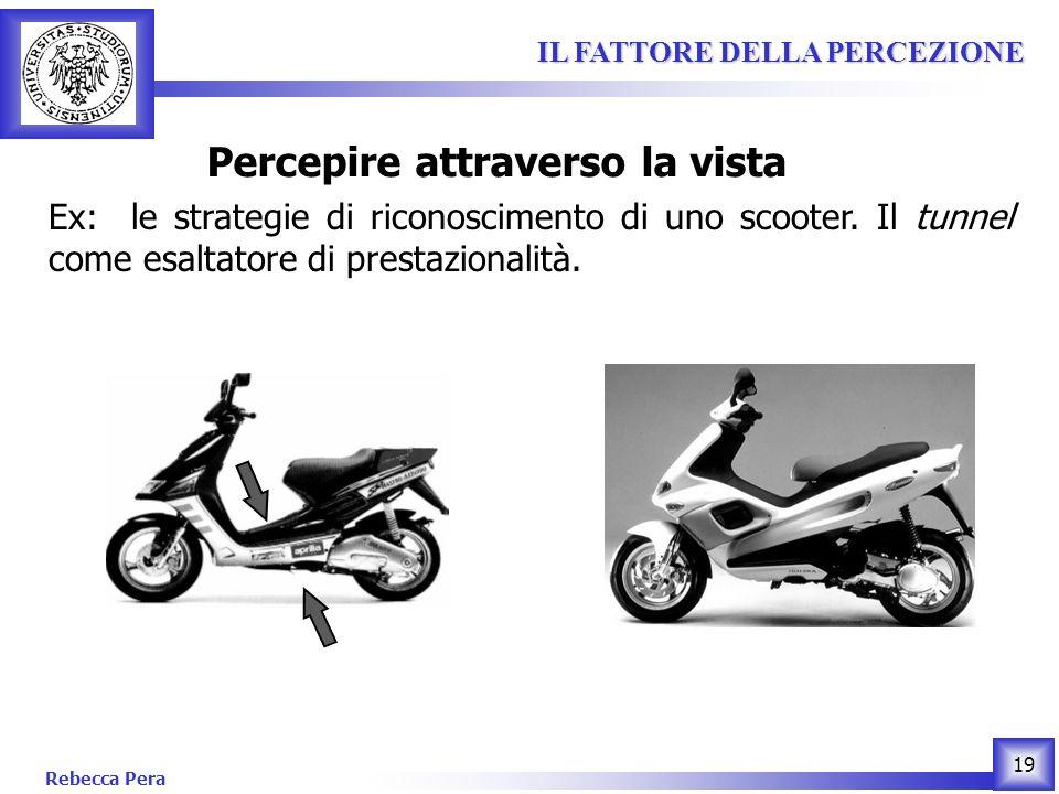 Rebecca Pera 19 IL FATTORE DELLA PERCEZIONE IL FATTORE DELLA PERCEZIONE Percepire attraverso la vista Ex: le strategie di riconoscimento di uno scooter.