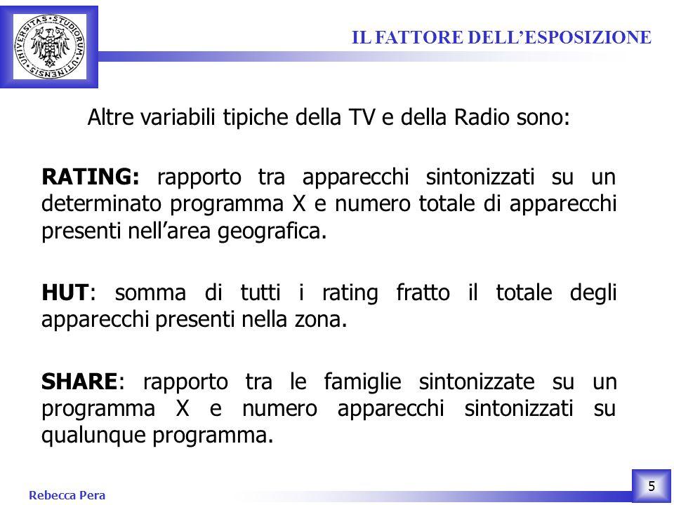 Rebecca Pera 5 Altre variabili tipiche della TV e della Radio sono: RATING: rapporto tra apparecchi sintonizzati su un determinato programma X e numero totale di apparecchi presenti nellarea geografica.