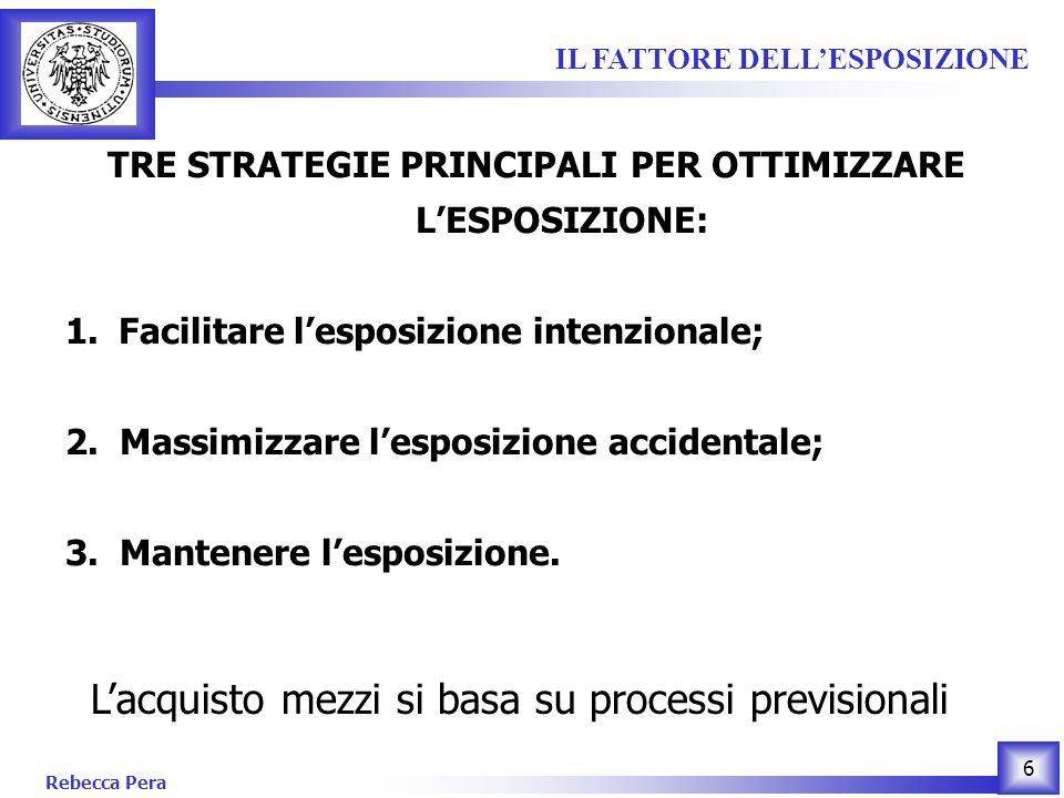 Rebecca Pera 6 TRE STRATEGIE PRINCIPALI PER OTTIMIZZARE LESPOSIZIONE: 1.Facilitare lesposizione intenzionale; 2.