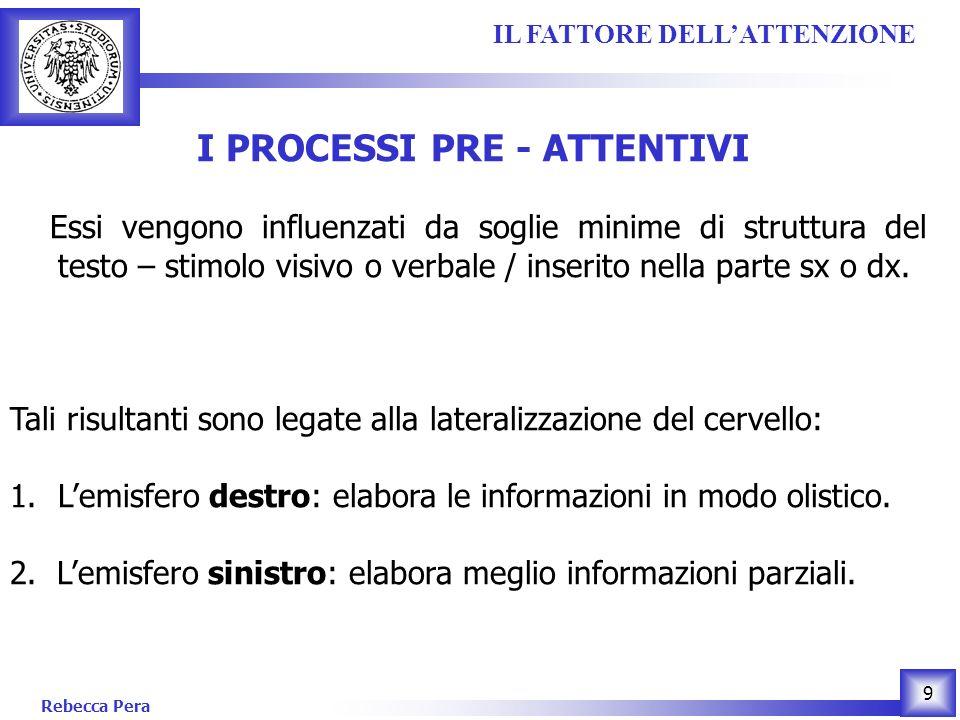 Rebecca Pera 9 I PROCESSI PRE - ATTENTIVI Essi vengono influenzati da soglie minime di struttura del testo – stimolo visivo o verbale / inserito nella parte sx o dx.