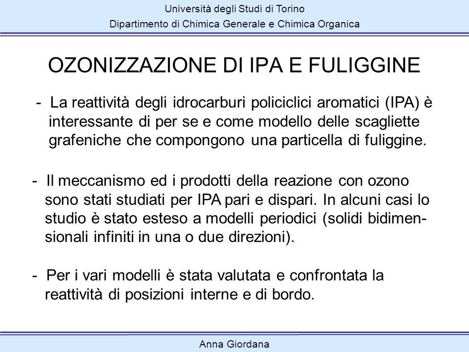 Università degli Studi di Torino Dipartimento di Chimica Generale e Chimica Organica OZONIZZAZIONE DI IPA E FULIGGINE Anna Giordana - La reattività de