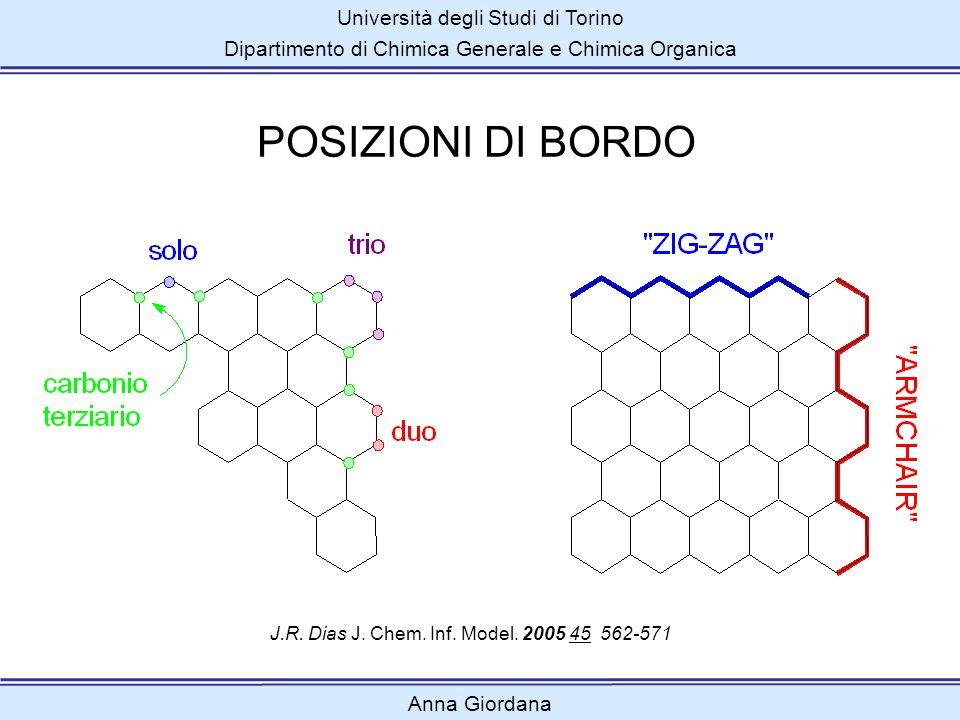 Università degli Studi di Torino Dipartimento di Chimica Generale e Chimica Organica Anna Giordana POSIZIONI DI BORDO J.R. Dias J. Chem. Inf. Model. 2