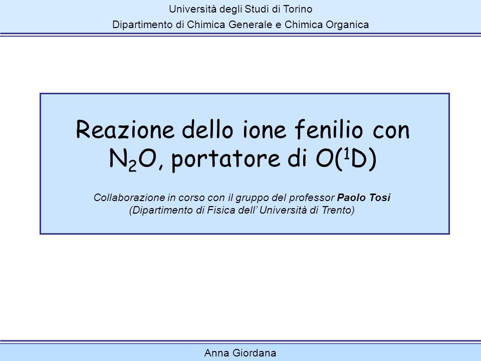 Reazione dello ione fenilio con N 2 O, portatore di O( 1 D) Università degli Studi di Torino Dipartimento di Chimica Generale e Chimica Organica Colla