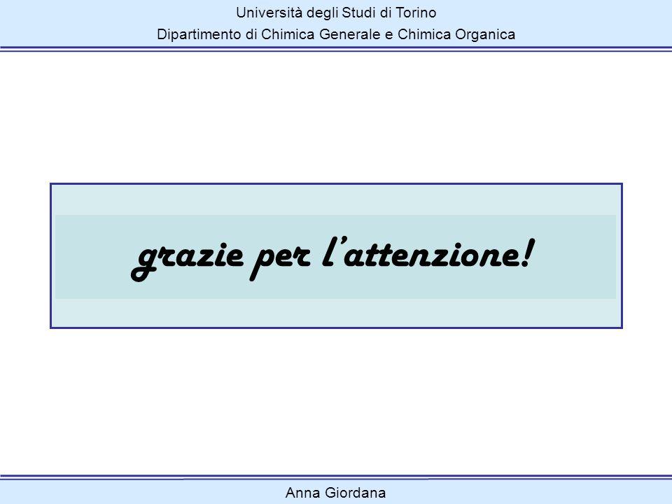 Università degli Studi di Torino Dipartimento di Chimica Generale e Chimica Organica grazie per lattenzione! Anna Giordana