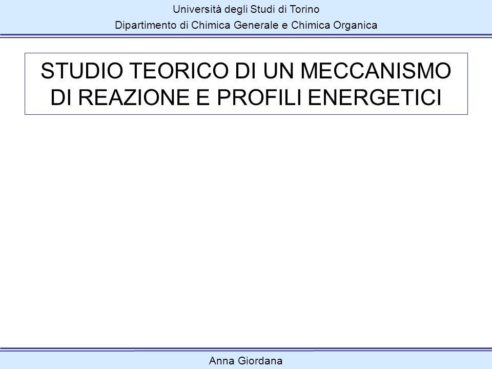 Università degli Studi di Torino Dipartimento di Chimica Generale e Chimica Organica Anna Giordana STUDIO TEORICO DI UN MECCANISMO DI REAZIONE E PROFI