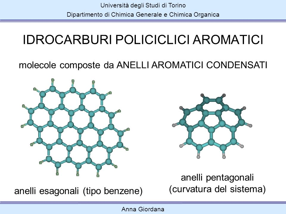 Università degli Studi di Torino Dipartimento di Chimica Generale e Chimica Organica IDROCARBURI POLICICLICI AROMATICI anelli pentagonali (curvatura d