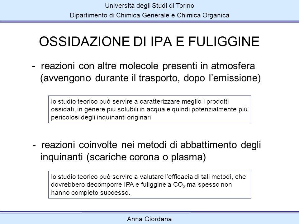 Università degli Studi di Torino Dipartimento di Chimica Generale e Chimica Organica Anna Giordana CONCLUSIONI Gli IPA dispari reagiscono più velocemente dei pari.
