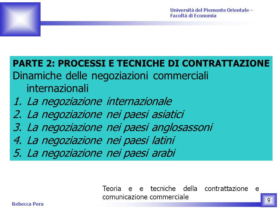 Rebecca Pera 10 Teoria e e tecniche della contrattazione e comunicazione commerciale Università del Piemonte Orientale – Facoltà di Economia Materiale didattico Vannoni, D.