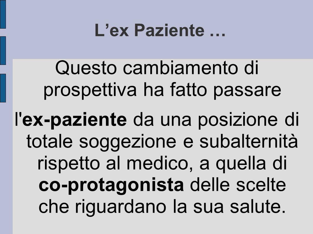Lex Paziente … Questo cambiamento di prospettiva ha fatto passare l'ex-paziente da una posizione di totale soggezione e subalternità rispetto al medic