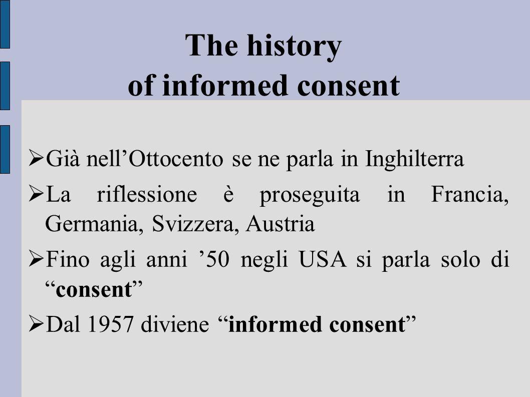 The history of informed consent Già nellOttocento se ne parla in Inghilterra La riflessione è proseguita in Francia, Germania, Svizzera, Austria Fino