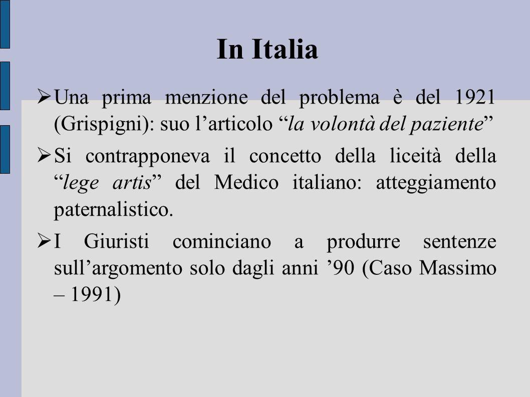 In Italia Una prima menzione del problema è del 1921 (Grispigni): suo larticolo la volontà del paziente Si contrapponeva il concetto della liceità del