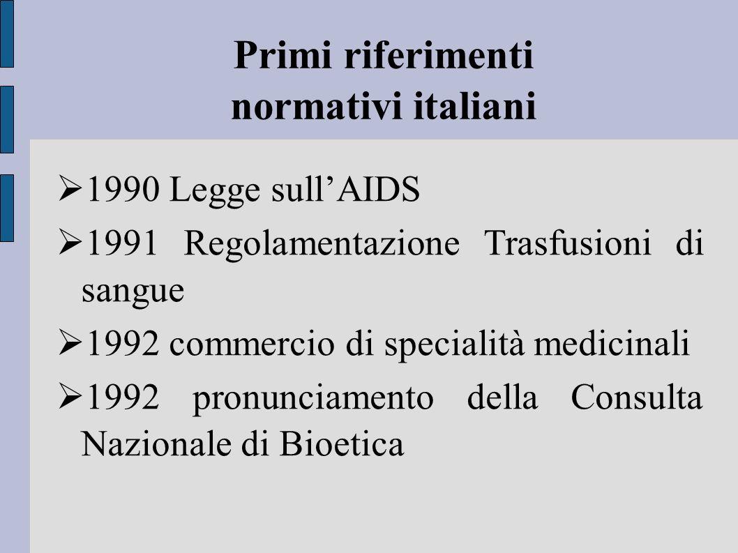 Primi riferimenti normativi italiani 1990 Legge sullAIDS 1991 Regolamentazione Trasfusioni di sangue 1992 commercio di specialità medicinali 1992 pron