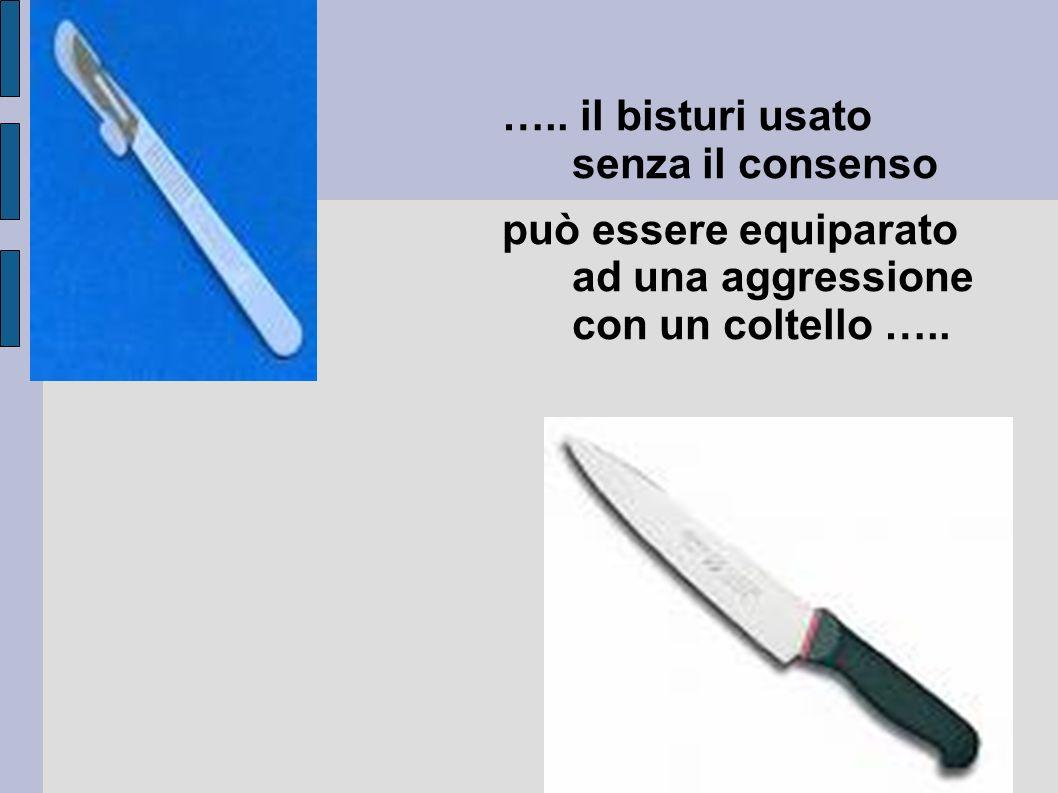 ….. il bisturi usato senza il consenso può essere equiparato ad una aggressione con un coltello …..