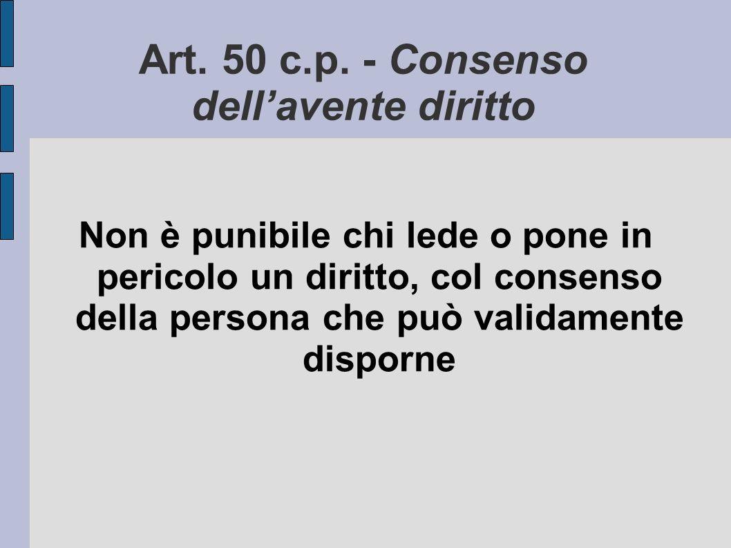 Art. 50 c.p. - Consenso dellavente diritto Non è punibile chi lede o pone in pericolo un diritto, col consenso della persona che può validamente dispo