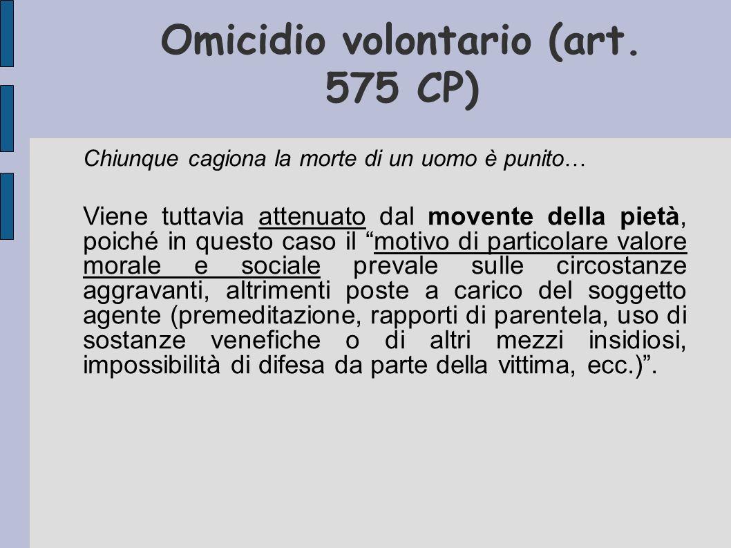 Omicidio volontario (art. 575 CP) Chiunque cagiona la morte di un uomo è punito… Viene tuttavia attenuato dal movente della pietà, poiché in questo ca