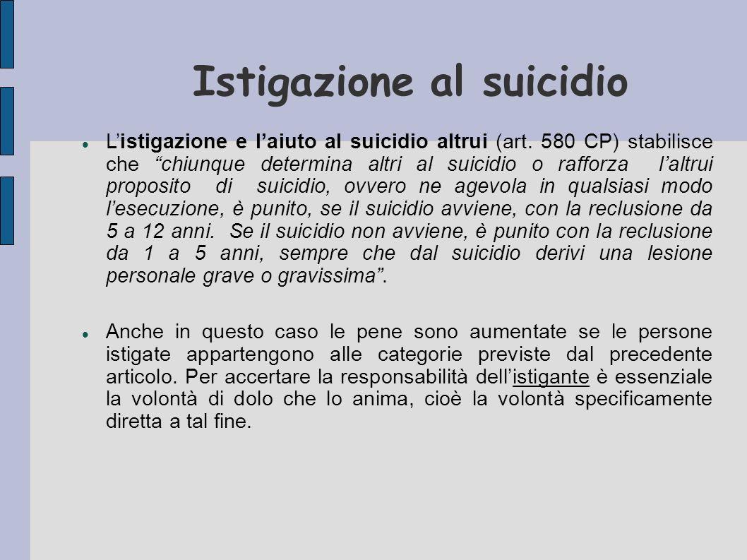 Istigazione al suicidio Listigazione e laiuto al suicidio altrui (art. 580 CP) stabilisce che chiunque determina altri al suicidio o rafforza laltrui