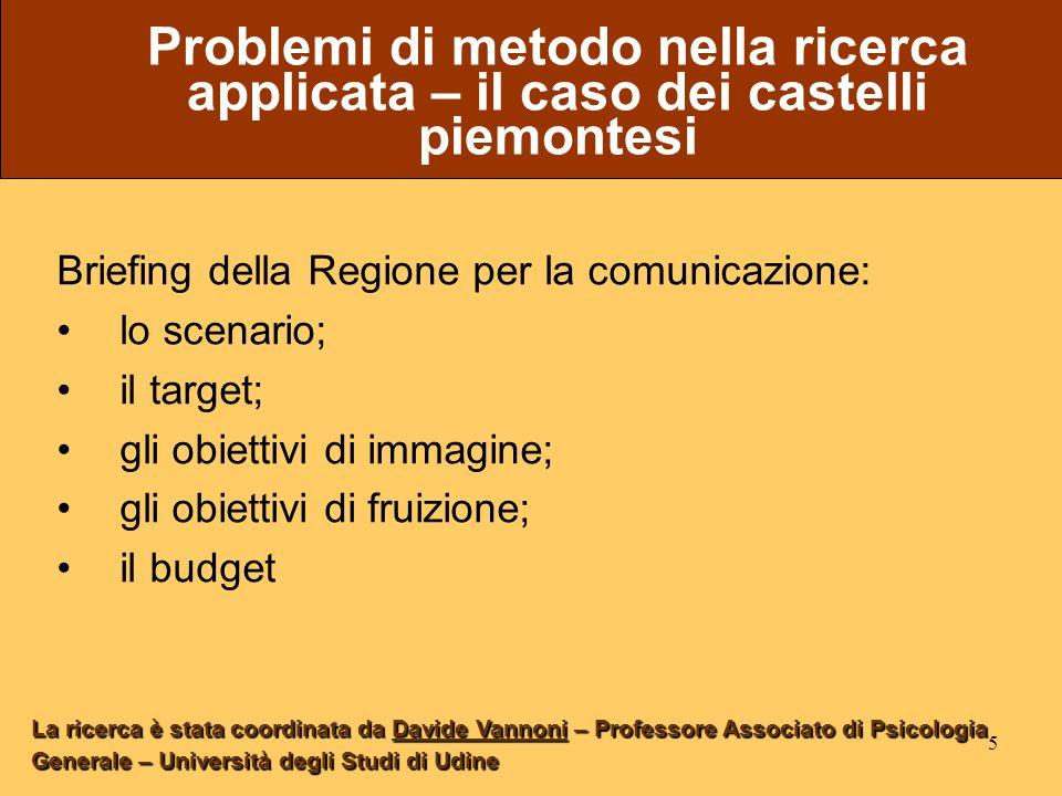 5 Problemi di metodo nella ricerca applicata – il caso dei castelli piemontesi Briefing della Regione per la comunicazione: lo scenario; il target; gl