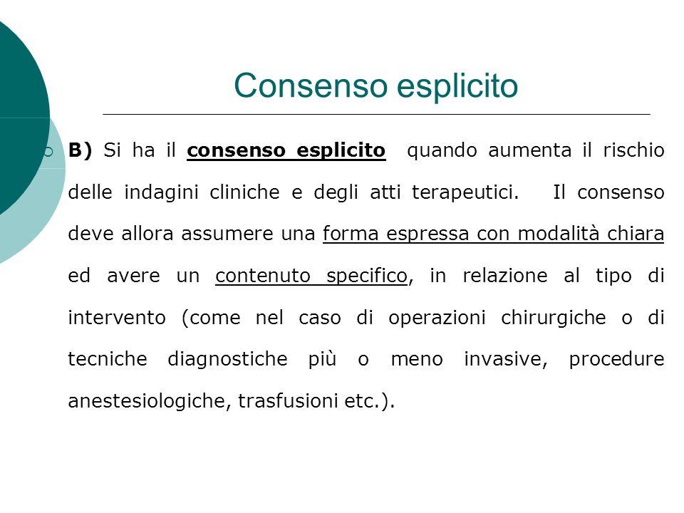 Consenso esplicito B) Si ha il consenso esplicito quando aumenta il rischio delle indagini cliniche e degli atti terapeutici.