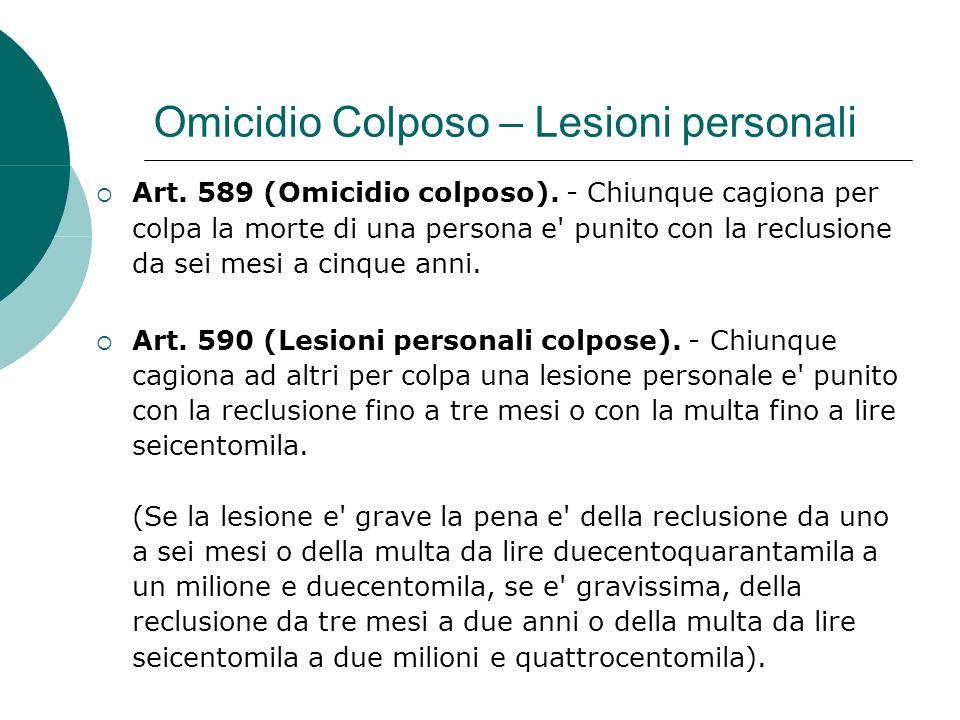 Omicidio Colposo – Lesioni personali Art. 589 (Omicidio colposo).