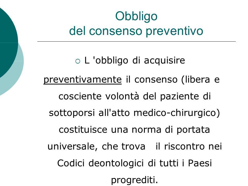 Obbligo del consenso preventivo L obbligo di acquisire preventivamente il consenso (libera e cosciente volontà del paziente di sottoporsi all atto medico-chirurgico) costituisce una norma di portata universale, che trova il riscontro nei Codici deontologici di tutti i Paesi progrediti.