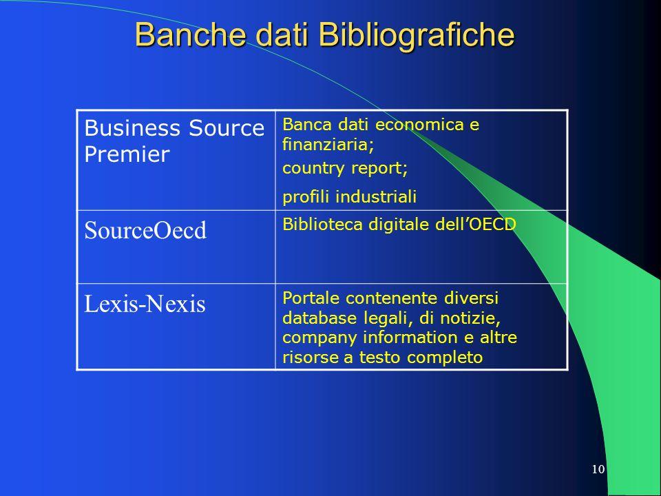 10 Banche dati Bibliografiche Business Source Premier Banca dati economica e finanziaria; country report; profili industriali SourceOecd Biblioteca di
