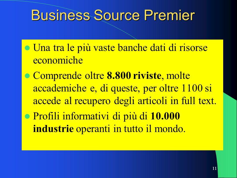 11 Business Source Premier Una tra le più vaste banche dati di risorse economiche Comprende oltre 8.800 riviste, molte accademiche e, di queste, per o