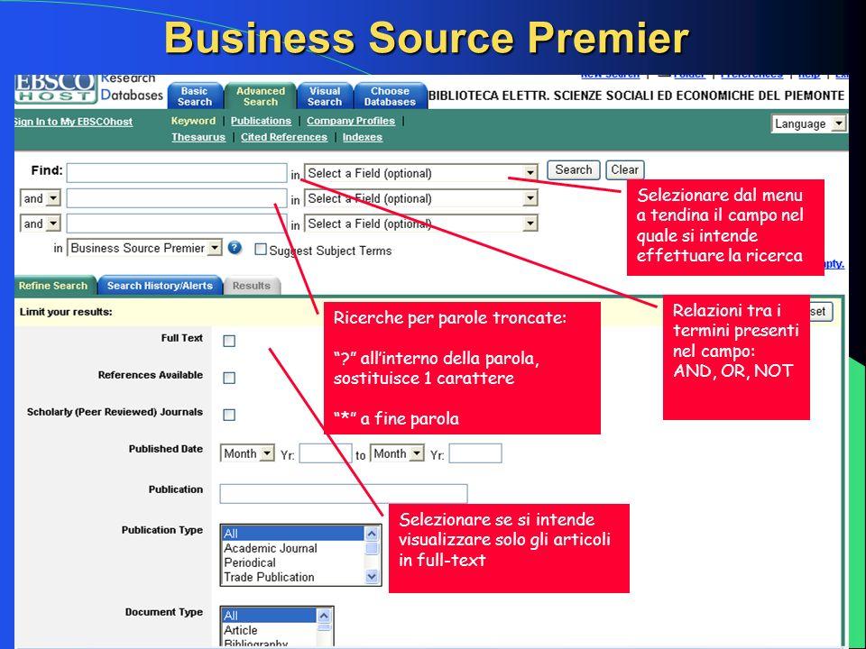 12 Business Source Premier Selezionare dal menu a tendina il campo nel quale si intende effettuare la ricerca Relazioni tra i termini presenti nel cam