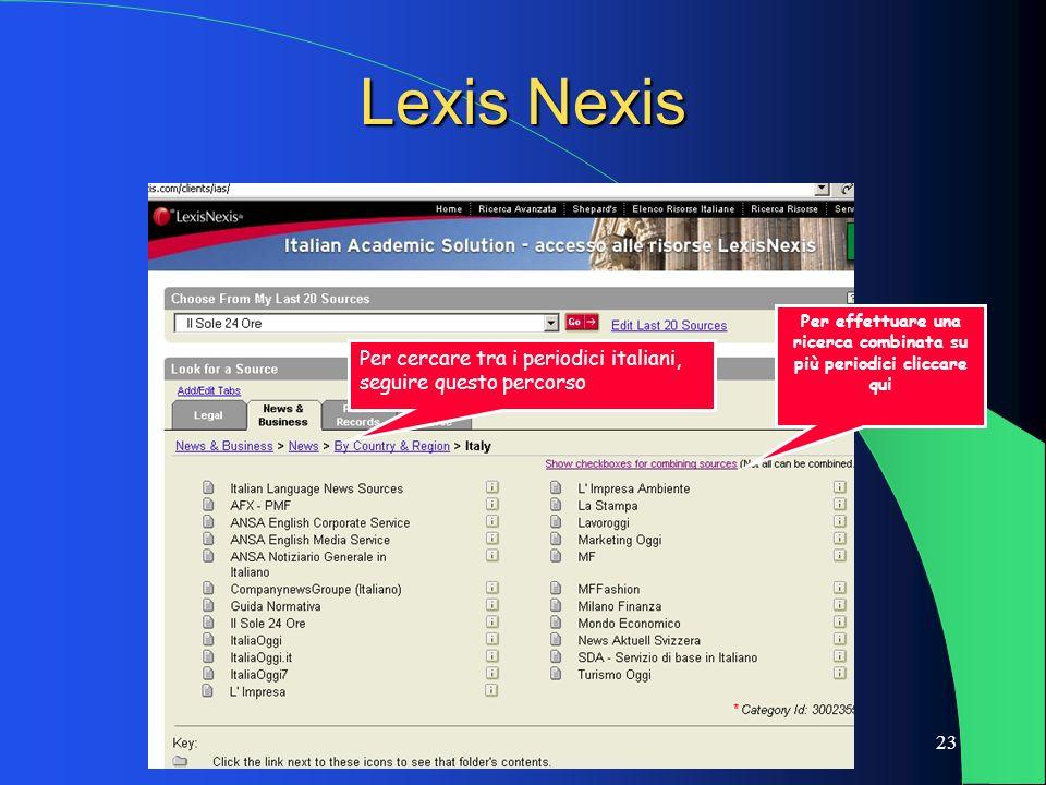 23 Lexis Nexis Per cercare tra i periodici italiani, seguire questo percorso Per effettuare una ricerca combinata su più periodici cliccare qui