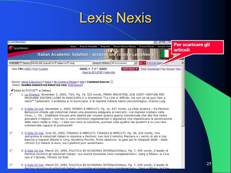 25 Lexis Nexis Per scaricare gli articoli