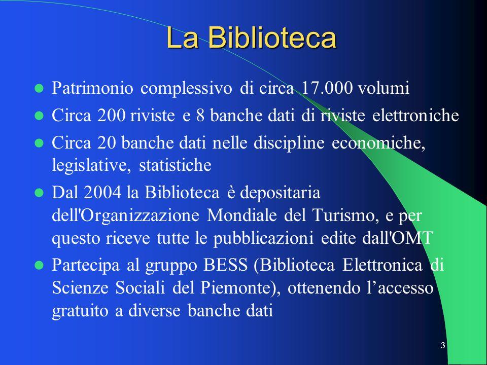 3 La Biblioteca Patrimonio complessivo di circa 17.000 volumi Circa 200 riviste e 8 banche dati di riviste elettroniche Circa 20 banche dati nelle dis