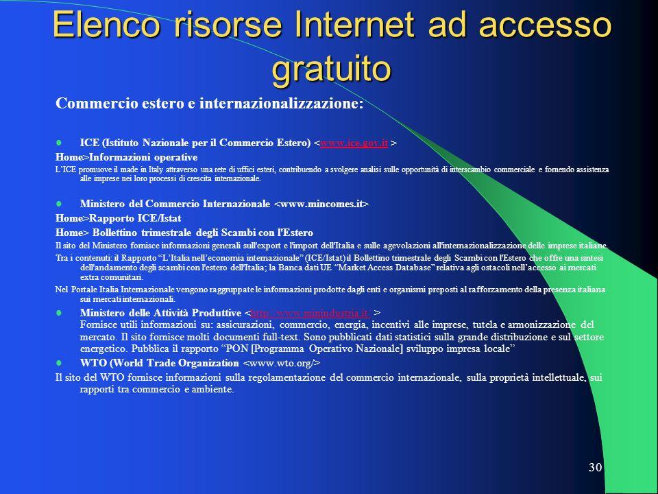 30 Elenco risorse Internet ad accesso gratuito Commercio estero e internazionalizzazione: ICE (Istituto Nazionale per il Commercio Estero) www.ice.gov