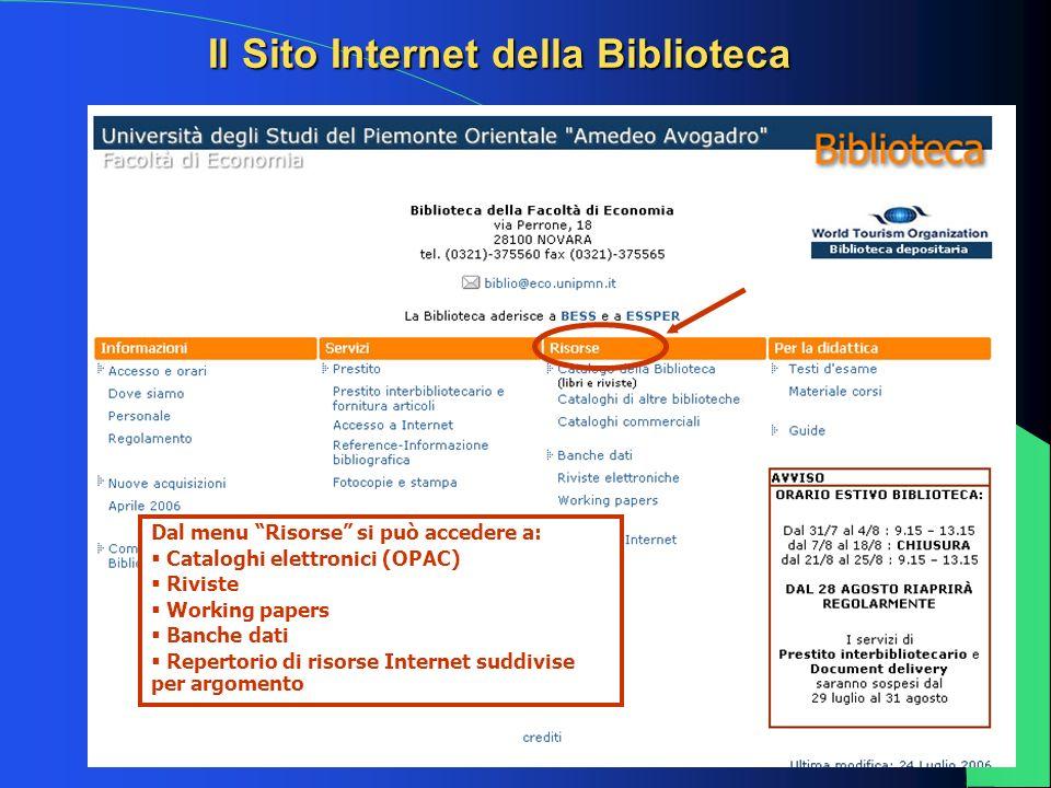 5 Dal menu Risorse si può accedere a: Cataloghi elettronici (OPAC) Riviste Working papers Banche dati Repertorio di risorse Internet suddivise per arg