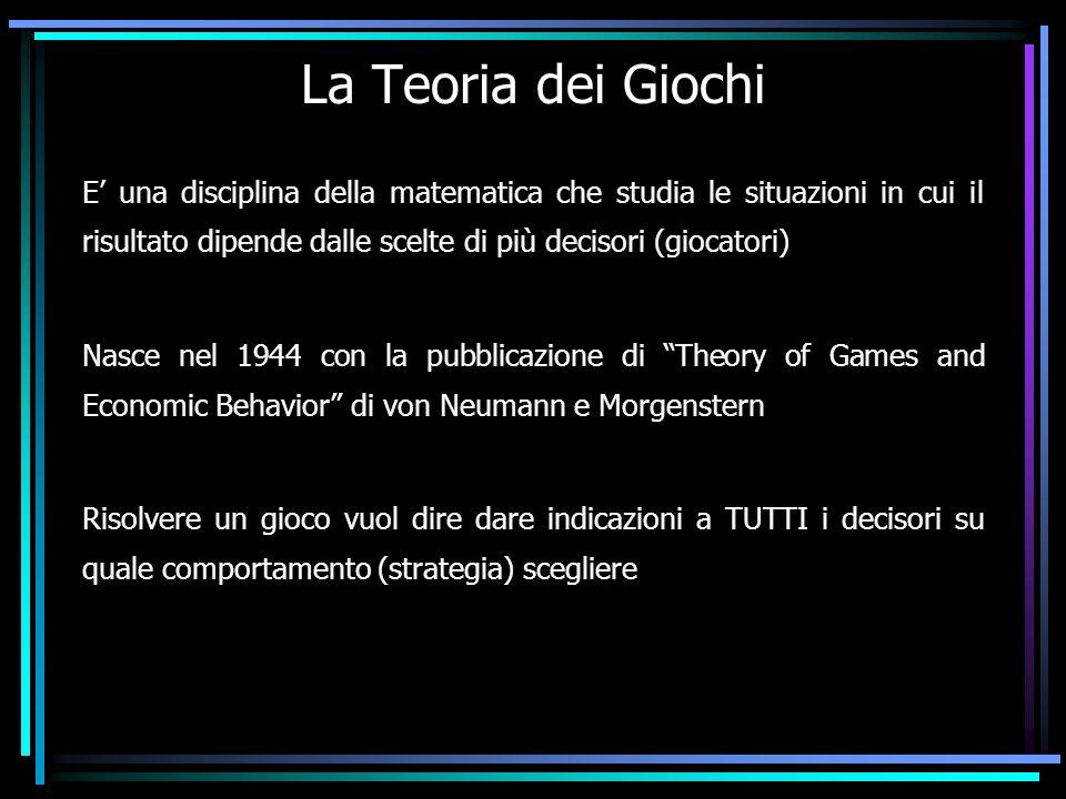 La Teoria dei Giochi E una disciplina della matematica che studia le situazioni in cui il risultato dipende dalle scelte di più decisori (giocatori) N