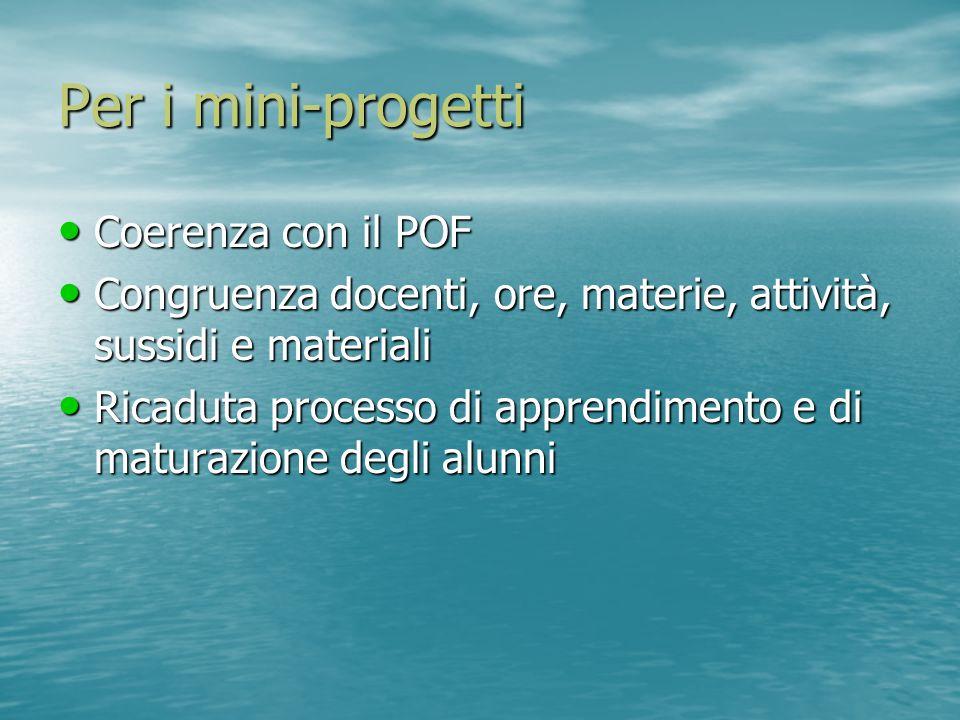 Per i mini-progetti Coerenza con il POF Coerenza con il POF Congruenza docenti, ore, materie, attività, sussidi e materiali Congruenza docenti, ore, m