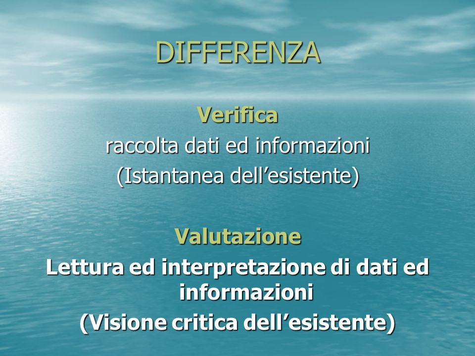 DIFFERENZA Verifica raccolta dati ed informazioni (Istantanea dellesistente) Valutazione Lettura ed interpretazione di dati ed informazioni (Visione c