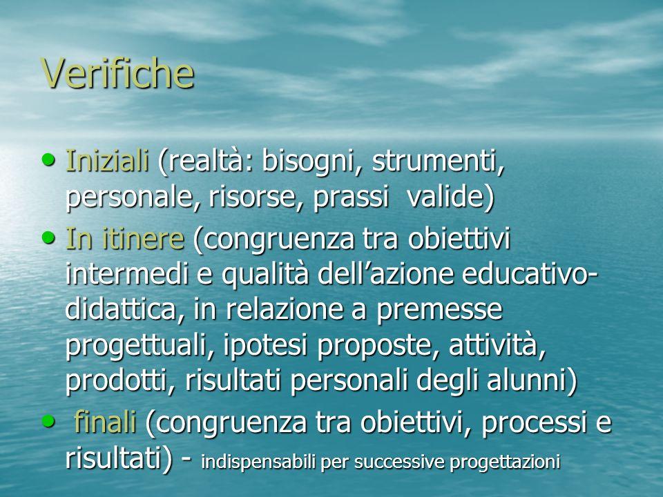 Verifiche Iniziali (realtà: bisogni, strumenti, personale, risorse, prassi valide) Iniziali (realtà: bisogni, strumenti, personale, risorse, prassi va