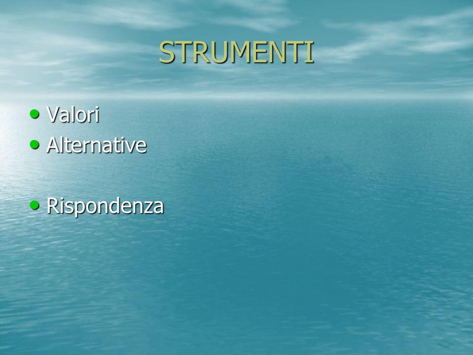 STRUMENTI Valori Valori Alternative Alternative Rispondenza Rispondenza