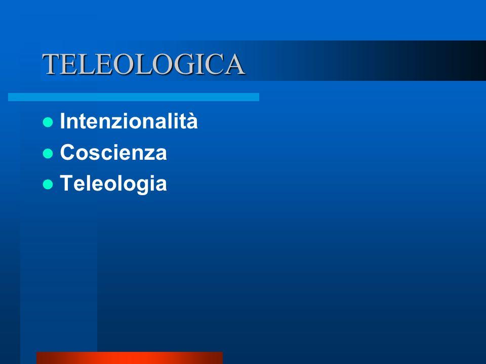 TELEOLOGICA Intenzionalità Coscienza Teleologia