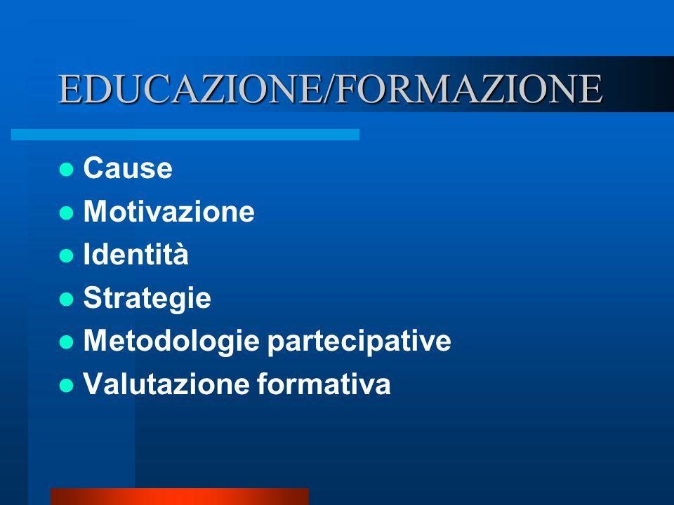 EDUCAZIONE/FORMAZIONE Cause Motivazione Identità Strategie Metodologie partecipative Valutazione formativa
