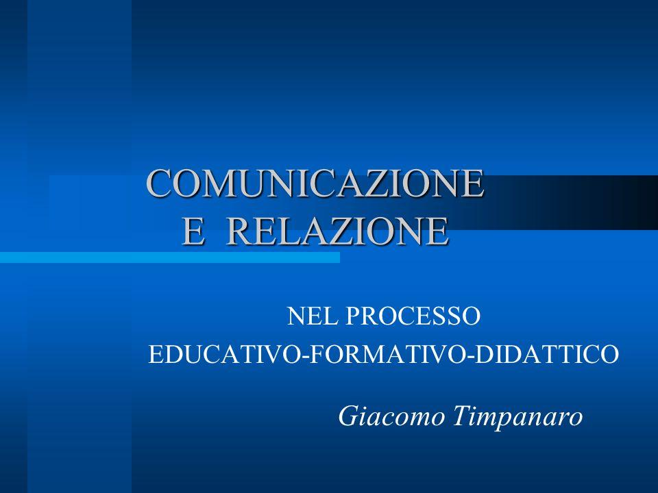COMUNICAZIONE E RELAZIONE NEL PROCESSO EDUCATIVO-FORMATIVO-DIDATTICO Giacomo Timpanaro