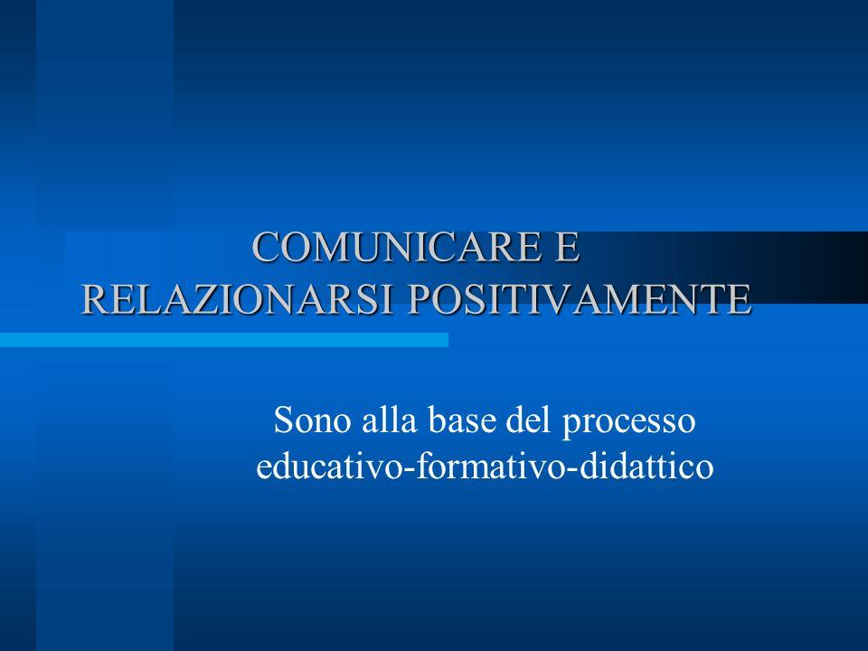 COMUNICARE E RELAZIONARSI POSITIVAMENTE Sono alla base del processo educativo-formativo-didattico
