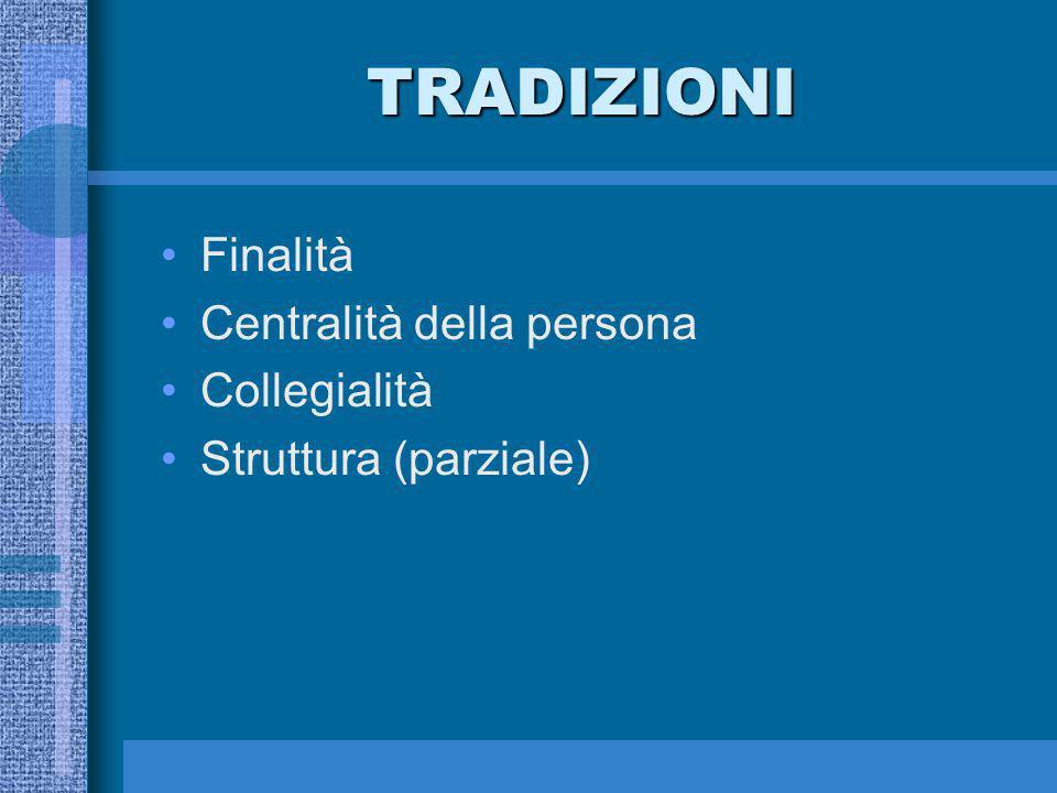 TRADIZIONI Finalità Centralità della persona Collegialità Struttura (parziale)