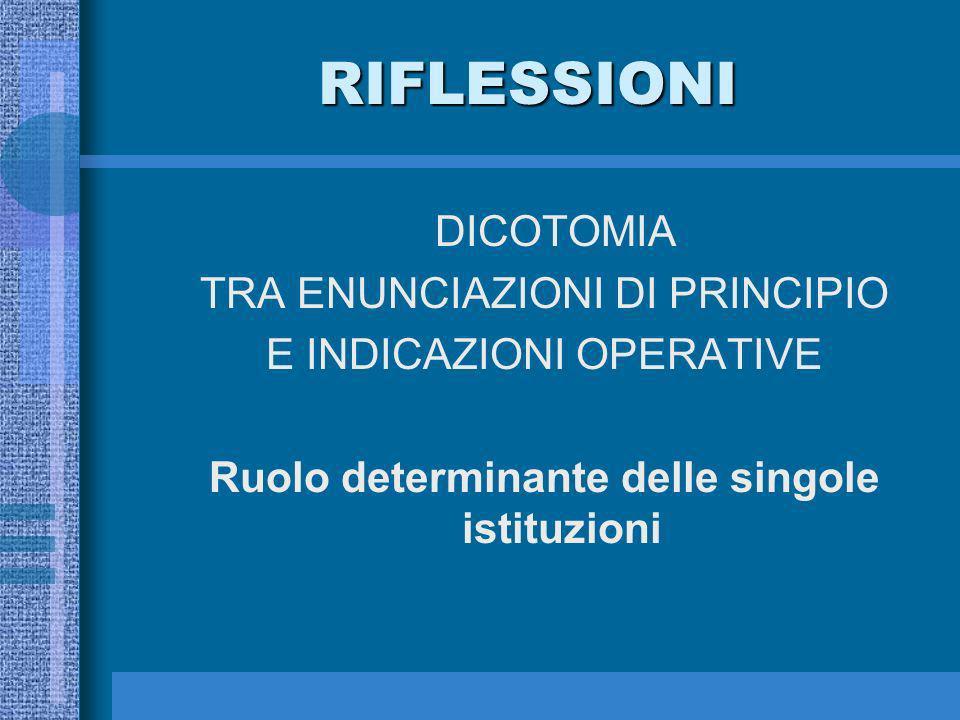 RIFLESSIONI DICOTOMIA TRA ENUNCIAZIONI DI PRINCIPIO E INDICAZIONI OPERATIVE Ruolo determinante delle singole istituzioni