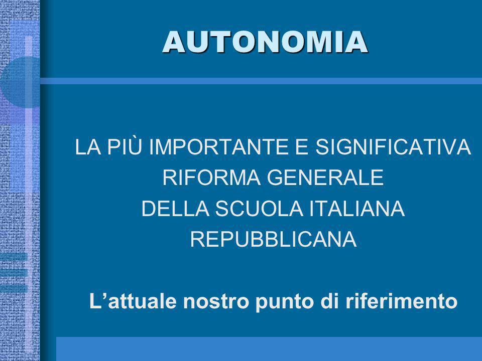 AUTONOMIA LA PIÙ IMPORTANTE E SIGNIFICATIVA RIFORMA GENERALE DELLA SCUOLA ITALIANA REPUBBLICANA Lattuale nostro punto di riferimento