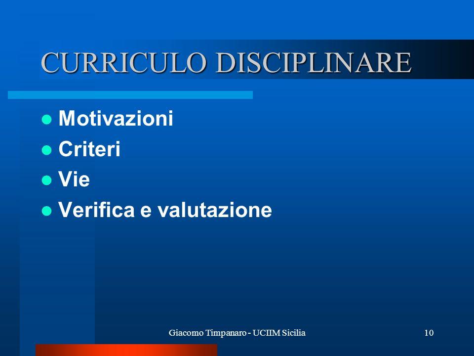 Giacomo Timpanaro - UCIIM Sicilia10 CURRICULO DISCIPLINARE Motivazioni Criteri Vie Verifica e valutazione