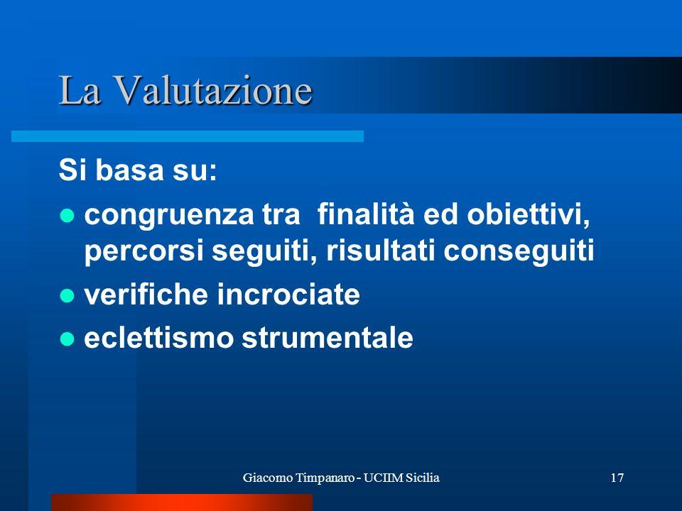 Giacomo Timpanaro - UCIIM Sicilia17 La Valutazione Si basa su: congruenza tra finalità ed obiettivi, percorsi seguiti, risultati conseguiti verifiche