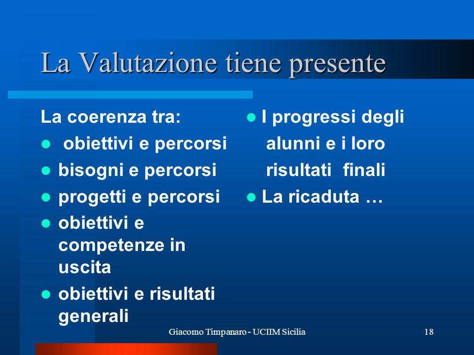 Giacomo Timpanaro - UCIIM Sicilia18 La Valutazione tiene presente La coerenza tra: obiettivi e percorsi bisogni e percorsi progetti e percorsi obietti